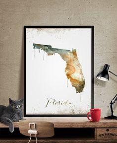FLORIDA Map, Map of florida, Poster california, Painted map art, watercolor, Poster Print, Wall Art,