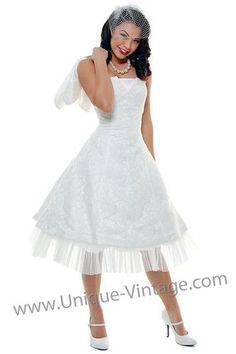 1950's Vintage Style Tea Length Wedding Dress w/ Bolero ($198)