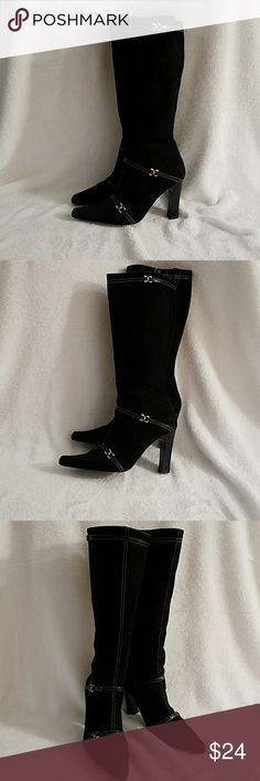 ANDREA black suede boots. ANDREA black suede boots. US size: 7 Preowned but still ok. I ordered them by catalog.  Made in Mexico. Size 4 in mexico A stretchy detail on the top for big calf. Thanks for looking remember to be your own kind of beauty. ANDREA Shoes Over the Knee Boots