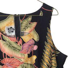 Classic Sleeveless Scoop Neck Empire Waist Hawaiian Aloha Shift Dress Sz 18 Hilo #HiloHattie #EmpireWaistMaxi #Casual