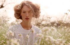 boheme, fashion, field, flowers, girl, model