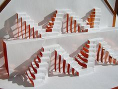 Pop up Origamic Architecture Geometric Symmetry ORIGINAL DESIGN of 3D Stairs To Success Handmade in White and Metallic Shimmery Copper. OOA. $35.00, via Etsy.