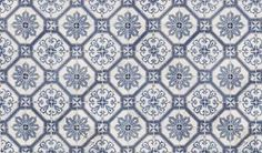 This seamless ornate blue and white tile