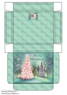 Merry Christmas Winter Scene Gift Box on Craftsuprint designed by Rhonda Brittain - A christmas winter scene gift box - Now available for download!