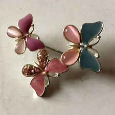 Gold plated enameled Three Butterflies pin brooch with cat eye caboc... Lot 141A