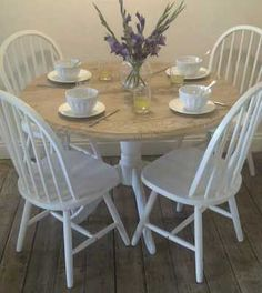 Round Pine Table & 4 chairs www.facebook.com/maisieshousevintage