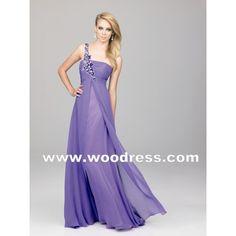 ELEGANT A LINE SKIRT CHIFFON LONG PURPLE PROM DRESSES
