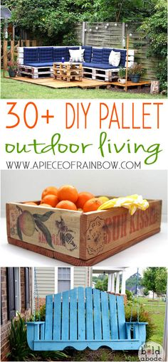 http://www.apieceofrainbow.com/diy-outdoor-pallet-projects/ Inspiring collection of pallet outdoor DIY projects with great tutorials!