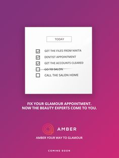 Get beauty services at your doorstep. Register today at http://getamber.com/