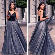Gorgeous V-neck Black Satin Top Long A-line Tulle Prom Dresses, PD0217