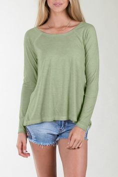 Faded green with an embroidered back and slit open. Perfect with jeans or jean shorts for a cute and casual look.  Trinket Embroidered Top by Others Follow . Clothing - Tops - Long Sleeve New Jersey