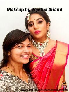 Traditional Southern Indian bride wearing bridal silk saree and jewellery. Reception look. Makeup and hairstyle by Vejetha for Swank Studio. #BridalSareeBlouse #SariBlouseDesign #pinklips #kundanjewellery #hairaccessory Silk Kanchipuram sari. Tamil bride. Telugu bride. Kannada bride. Hindu bride. Malayalee bride  Find us at https://www.facebook.com/SwankStudioBangalore