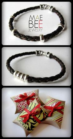Silver on Braided Leather #bracelet from JewelryByMaeBee on #Etsy. #sfetsy www.Jewelrybymaebee.etsy.com
