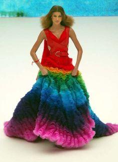 Alexander McQueen rainbow dress S/S 2003