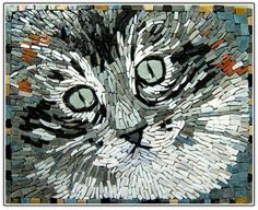 Love the kitty!... Kitty Mosaic from Mosaïkashop