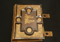 "Leather and brass bound hard cover ""Brown's Self Interpreting Holy Bible"" published by ""New York American Publishing Company No. 22 Park Place 1878"" having gold leaf edges, 13"" x 11"" x 4.5"""