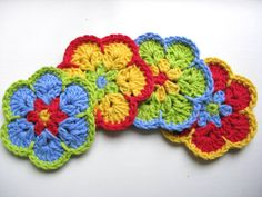 Flower Coasters CrochetSet of 4Red Blue Yellow by RoseJasmine, $9.00