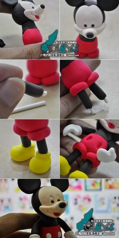 How to make fondant mickey! ( well the instructions are for clay, but you can use fondant instead) Mickey Cakes, Mickey Mouse Cake, Cake Topper Tutorial, Fondant Tutorial, Fondant Figures, Cake Decorating Techniques, Cake Decorating Tutorials, Fondant Toppers, Fondant Cakes