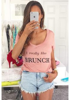 """E's has you covered with the perfect casual Sunday brunch outfit. Enjoy SundayFunday in our """"I really like Brunch"""" babydoll tee. Who doesn't like brunch, right?"""