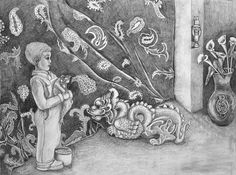 """Drawing, """"The Frog and the Dragon,"""" by Susan Culver, Fine Art America."""