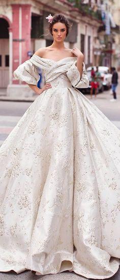 Off-the-shoulder sweetheart neckline, wide princess skirt with sweeping train and criss-cross bodice #weddingdress #weddingdresses #weddinggown