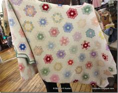 1930's Grandmother's Flower Garden Hexagon Quilt.  SMALL hexies and very close quilting!  Found in Maine, May 2013