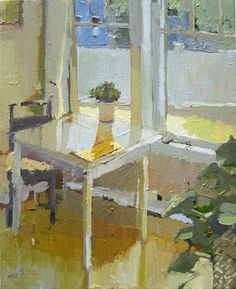 ◇ Artful Interiors ◇ paintings of beautiful rooms - Carol Rabe - Yellow Napkin
