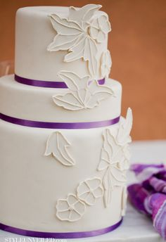 Tuscany Inspired Wedding Cake with Purple Ribbon http://styleunveiled.com/wedding-blog/category/wedding-cake-gallery