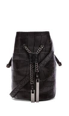e2eac4c97357 Halston Heritage Mini Bucket Bag in Black Croco Crossbody Messenger Bag