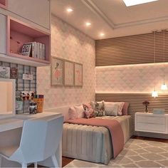 [New] The 10 Best Home Decor Ideas Today (with Pictures) - Girl's Room Inspiration! Small Apartment Bedrooms, Small Room Bedroom, Small Apartments, Cute Room Decor, Teen Room Decor, Bedroom Decor, Dream Rooms, Dream Bedroom, Girl Bedroom Designs