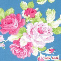 Sadie's Dance Card Big Rose Blue Quilt Fabric by Tanya Whelan for Freespirit