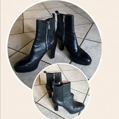 """Donald J. Pliner Ankle Boots DONALD J PLINER  Milan2  -Condition: Brand New Without Box.  -Size: US Size 8 -Color: Black -Sleek, elevated, pull-on booties.   -Platforms.  -Round toe, side gores, back tab.  -3.75"""" heel.  -1"""" platform.  -Leather/fabric upper, leather lining.  -Man made sole -Imported.  -Retails for $248.00 Donald J. Pliner Shoes Heeled Boots"""
