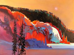 Wonderful use of orange in this vibrant winterscape by Colorado artist Stephen Quiler.