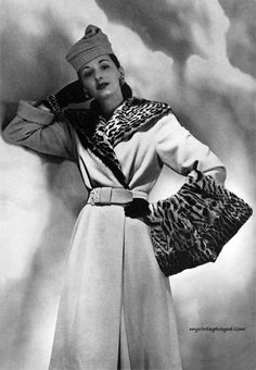 Bonwit Teller Catalog Autumn-Winter 1941. Coat with leopard fur collar and muff.