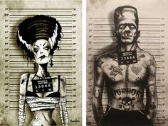 I love how they are creepy but also look real badass. Monster Set of Prints by Too Fast (creepy cards)