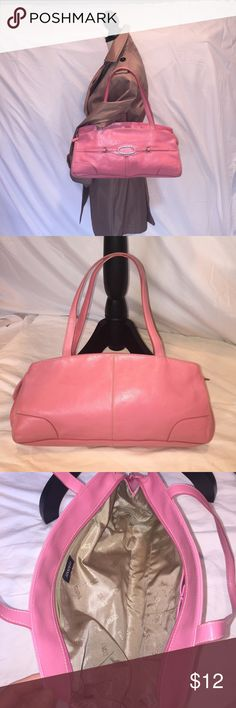 """Franco Sarto Pink Shoulder/Satchel Bag Franco Sarto Pink Shoulder/Satchel Bag. In A+ condition, full zip closure, silver hardware, and detailed stitching. Inside has one zip pocket + two additional pockets. 9"""" drop on strap. A lot of room inside. Faux leather.  There isn't one  mark on this bag. Franco Sarto Bags Shoulder Bags"""