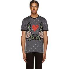 Dolce & Gabbana - Grey Dot & Floral T-Shirt