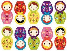 Russian Folk Art Nesting Dolls By Suzy Ultman