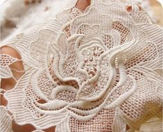 3D White Wedding Lace Fabrics Venice Chic Lace Fabric by lacetime, $49.99
