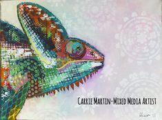 Items similar to Mixed media original chameleon painting canvas on Etsy Chameleon, Carrie, Original Art, Mixed Media, The Originals, Canvas, Painting, Etsy, Tela