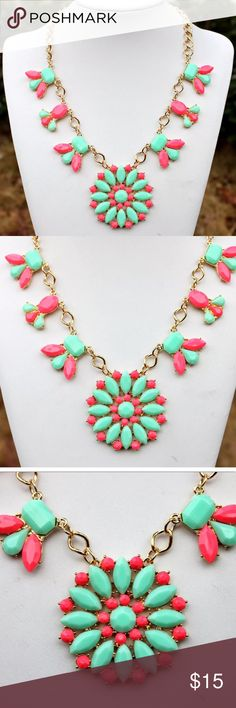 Beautiful statement piece bib pink green necklace Super cute & fashionable pink & green floral necklace. Statement bib piece gold chain Jewelry Necklaces