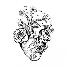 Illustration anatomical heart with mushrooms Premium Vector Cool Art Drawings, Pencil Art Drawings, Art Drawings Sketches, Tattoo Drawings, Heart Drawings, Ink Tattoos, Arte Com Grey's Anatomy, Anatomy Art, Human Heart Drawing