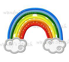Rainbow appique machine embroidery design digital pattern
