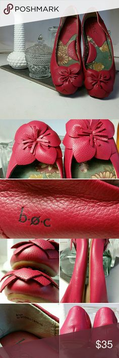 Pink B.O.C. by Born Adrianne Ballet Flats Gently worn, very comfortable pebbled-leather shoes are flirty,feminine, & floral. Size 8. Please see photos for condition details. Props are not included. Price Firm. B.O.C. by Born Shoes Flats & Loafers