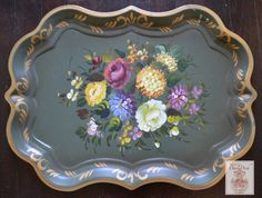 """HUGE 27"""" Vintage Tole Tray Toleware Hand Painted Plethora of Flowers A"""