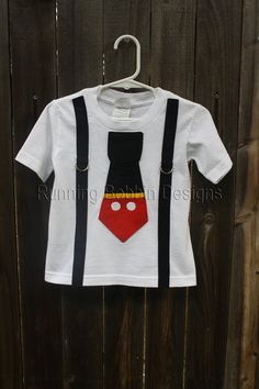Mickey Mouse Tie T Shirt or Onesie with Suspenders Disney Trip or Birthday Outfit. $21.95, via Etsy.