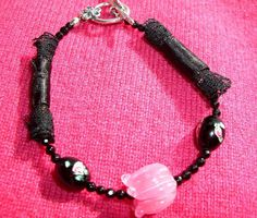 Black Lace Bracelet With a Pink Artisan GlassTulip