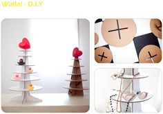 cardboard christmas tree shelf by liya mairson. would be perfect for displaying at items in a craft show