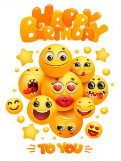 Happy Birthday Greeting Card Template With Group Of Emoji Cartoon Yellow Smile Characters. Happy Birthday Greetings Friends, Happy Birthday Greeting Card, Birthday Messages, Emoji Invitations, Free Emoji, Happy Birthday Template, Party Cartoon, Greeting Card Template, Smileys