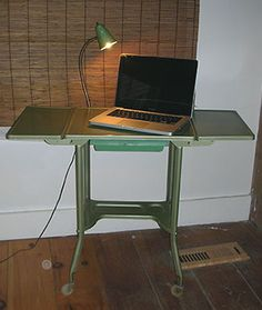 Goodwill find - little green typewriter table with attached light!